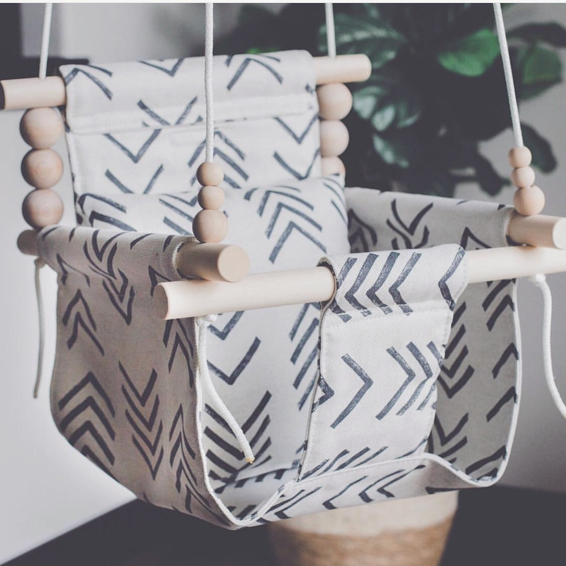 High back mud cloth swing