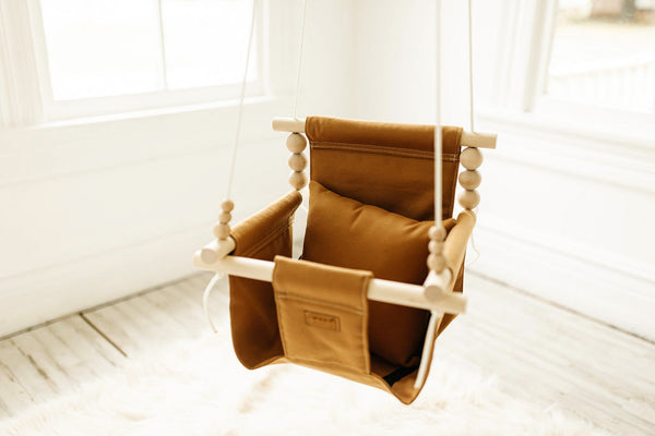 High Back Nutmeg Fabric Baby Swing