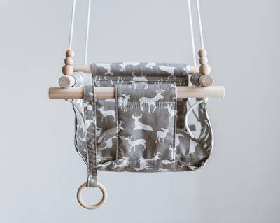 Grey Deer Fabric Baby Swing