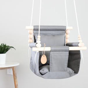 Grey High Back Fabric Baby Swing