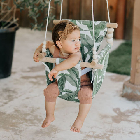 High back Outdoor Tropical Leaf Swing