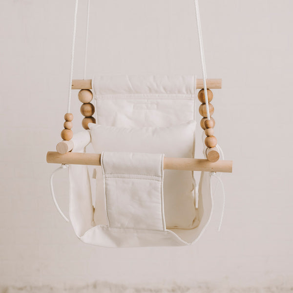 Imperfect: High Back White Fabric Swing NO belt