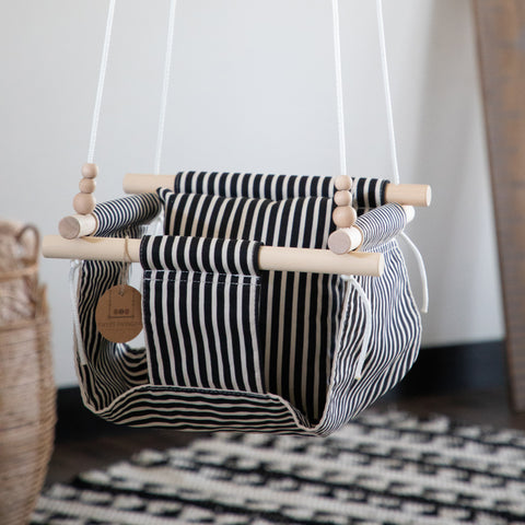 Black and White Fabric Baby Swing