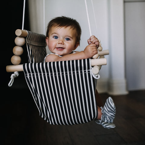 Black and White High Back Fabric Baby Swing