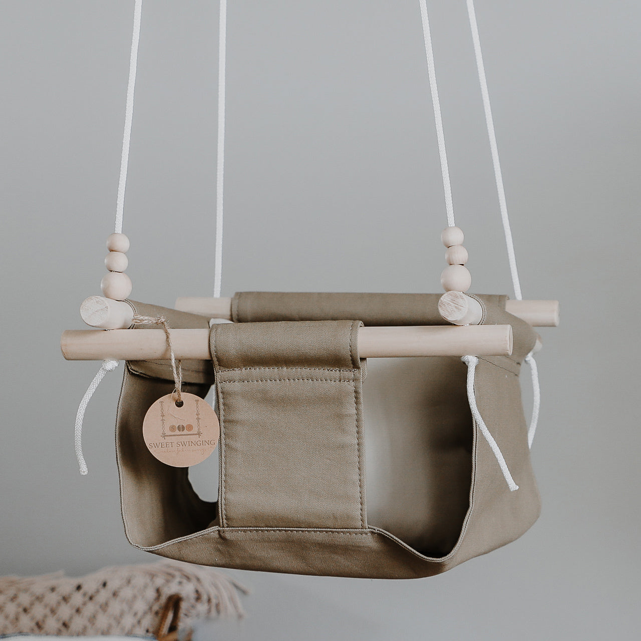 Khaki Fabric Baby Swing