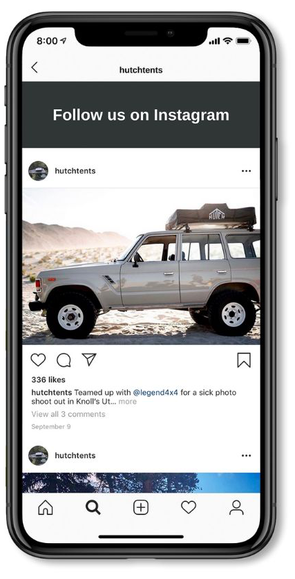 Phone Displaying Hutch Tents Instagram Account | Hutch Tents