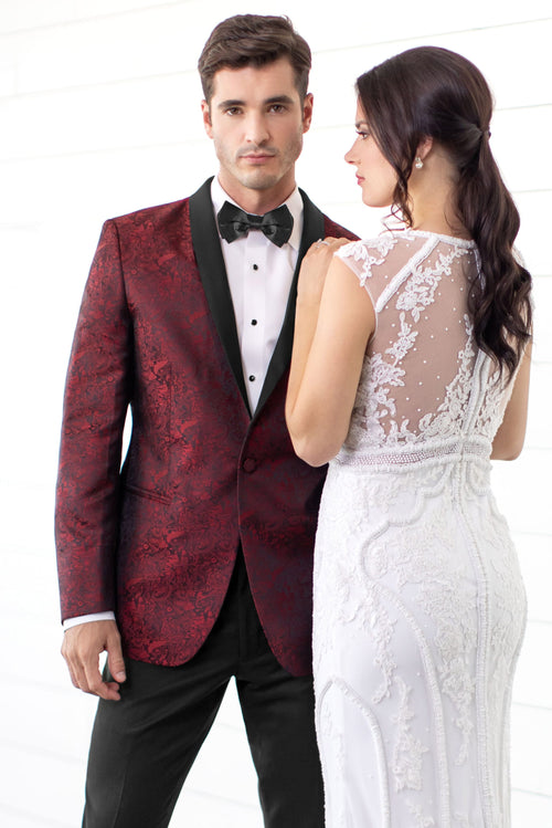 Apple Red Paisley Slim Fit Tuxedo Coat