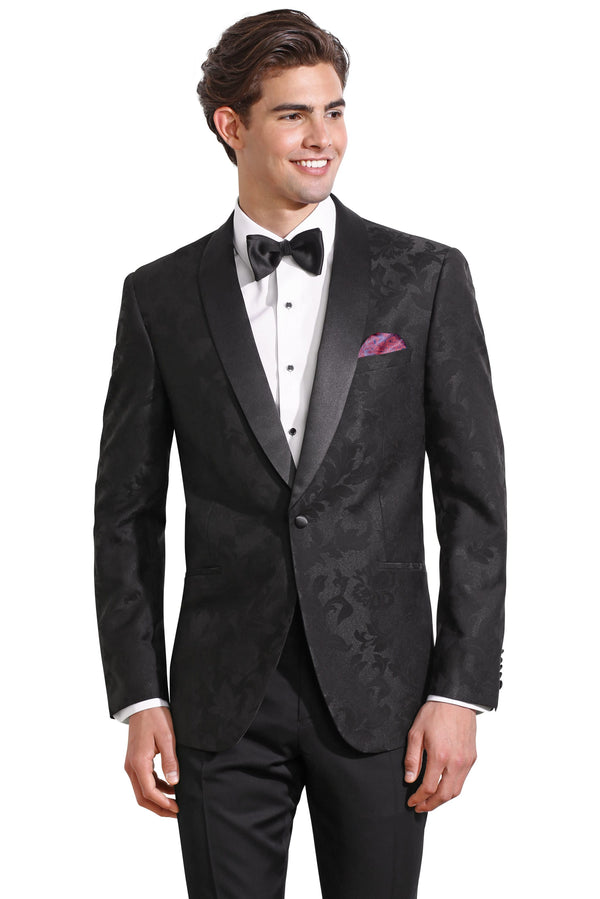Black Floral Ultra Slim Fit Tuxedo Coat