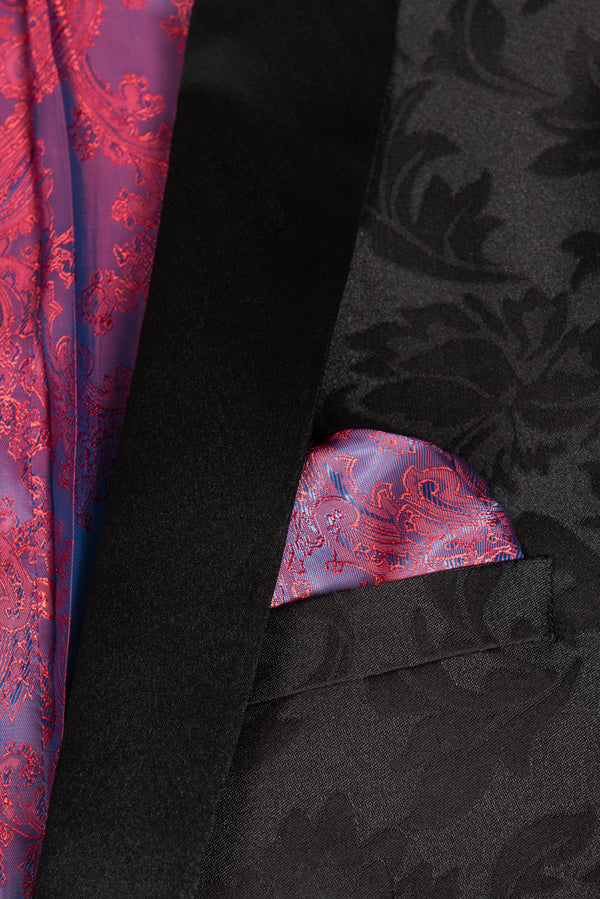 Black Floral Ultra Slim Fit Tuxedo Coat Pocket