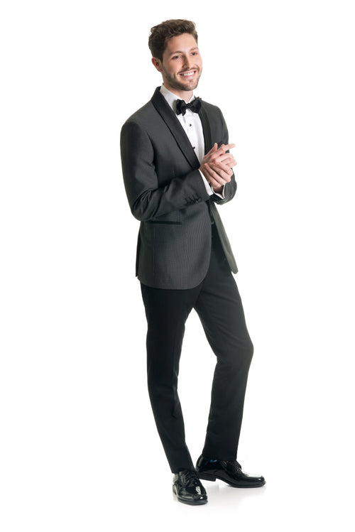 Black Pin Dot Ultra Slim Fit Tuxedo Coat