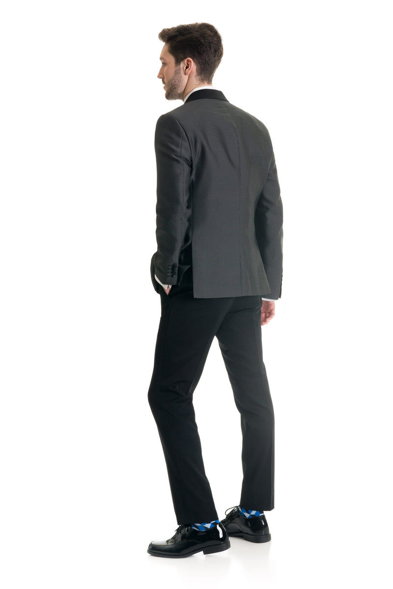 Black Pin Dot Ultra Slim Fit Tuxedo Coat Back
