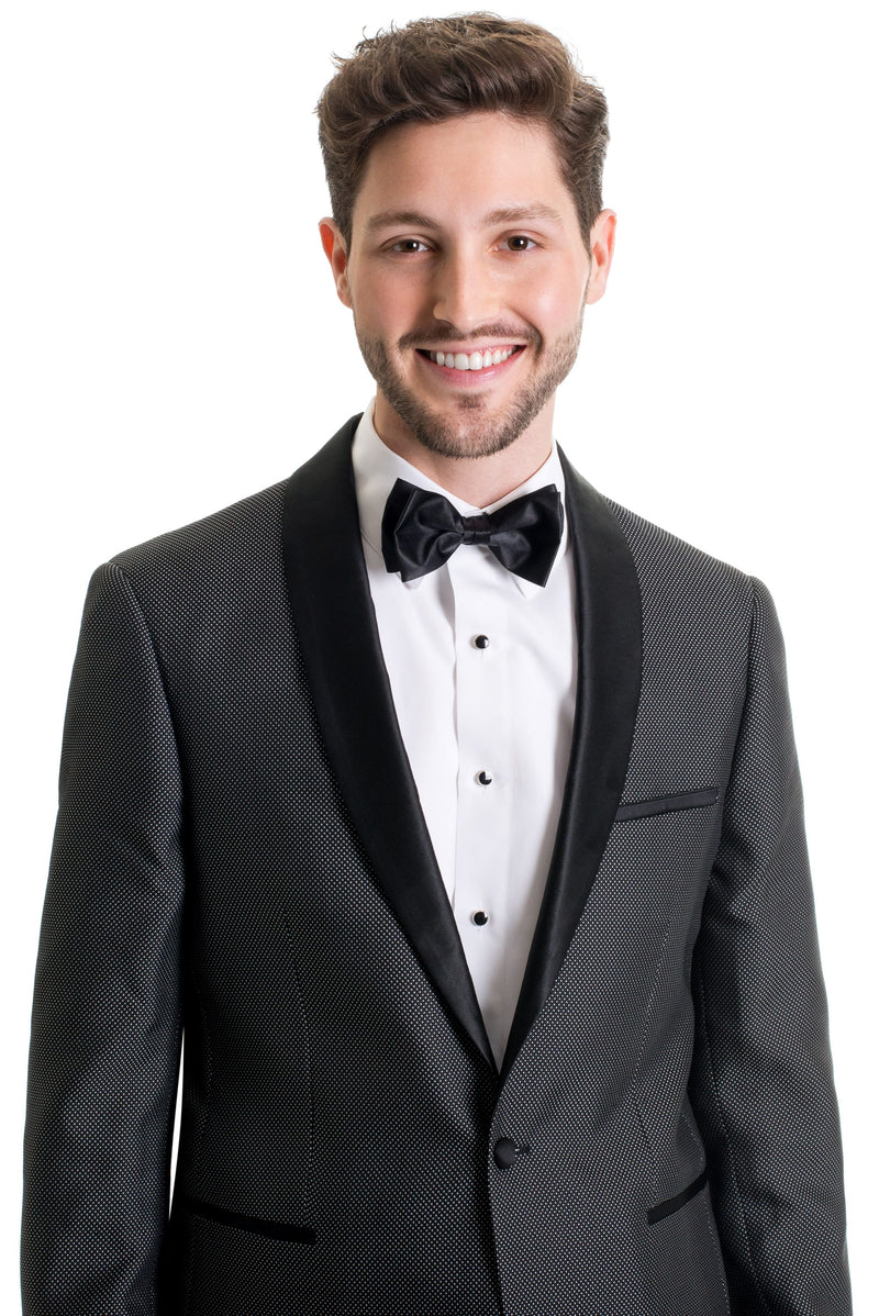 Black Pin Dot Ultra Slim Fit Tuxedo Coat Close Up
