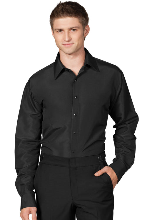 Black Regular-Fit Microfiber Dress Shirt
