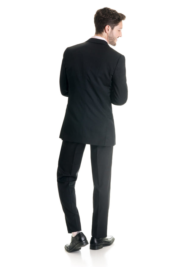 Black Slim Fit Suit Coat - Full Suit Back
