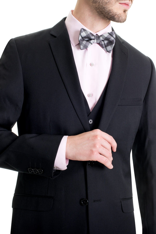 Black Slim Fit Suit Coat - Closeup