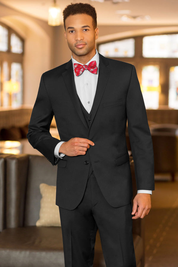 Black Slim Fit Suit Coat - With Red Bowtie