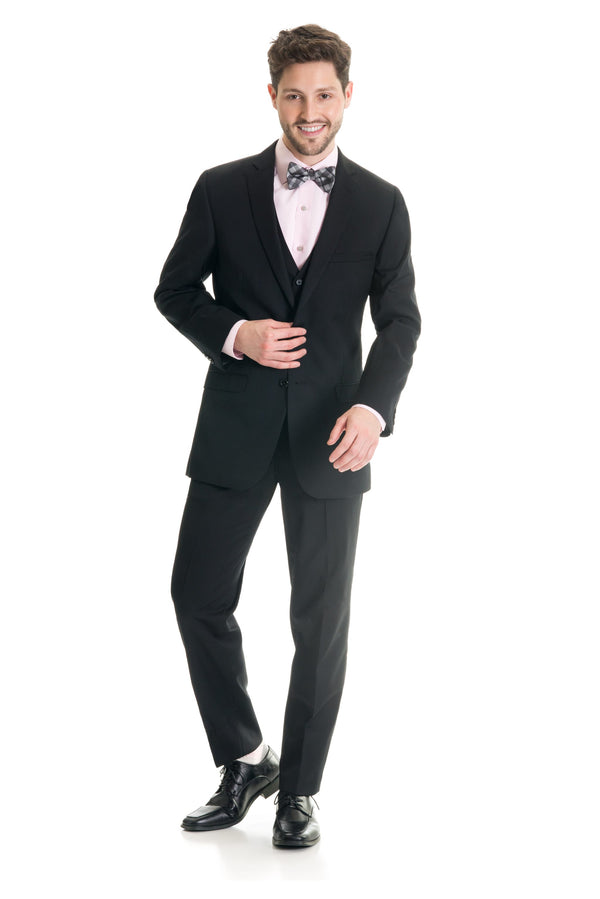 Black Slim Fit Suit Coat - Full Suit Front