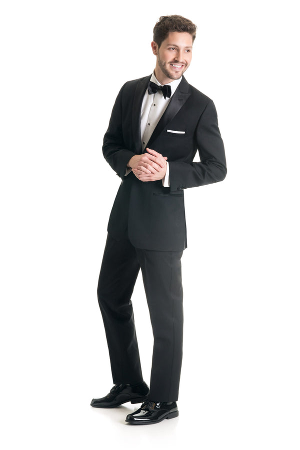 Black Slim Fit Tuxedo Coat - Full Tuxedo Three Quarters