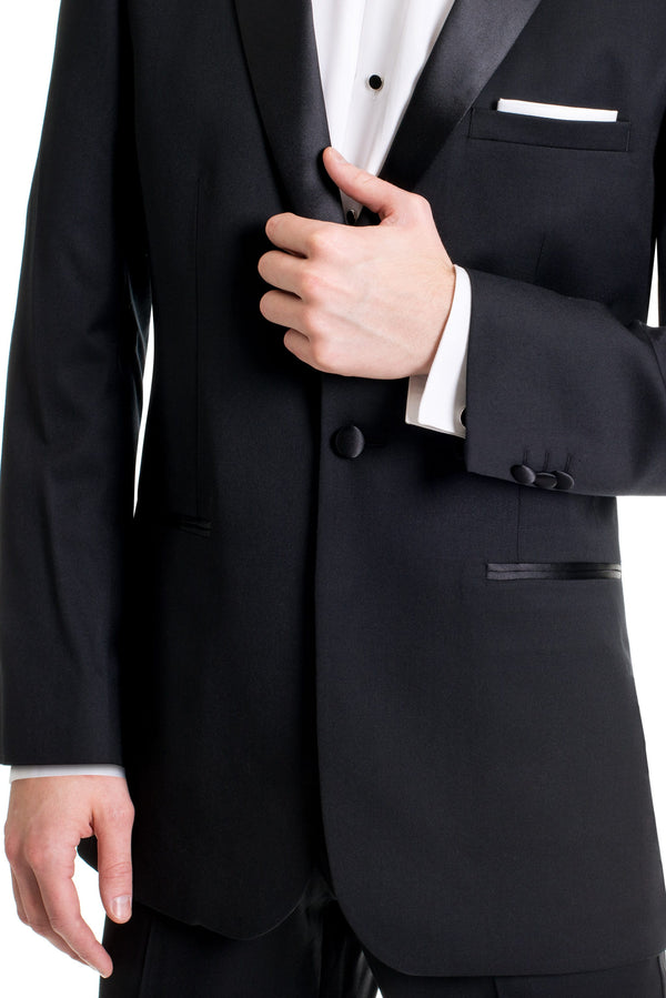 Black Slim Fit Tuxedo Coat - Detailed Up-Close