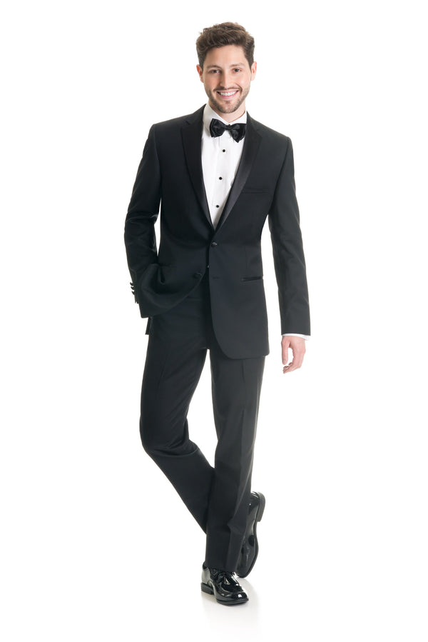 Black Slim Fit Tuxedo Coat - Super 120's - Full Tux Front