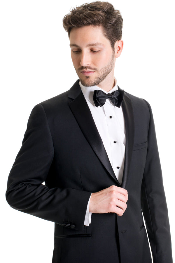 Black Slim Fit Tuxedo Coat - Super 120's - With Bow Tie