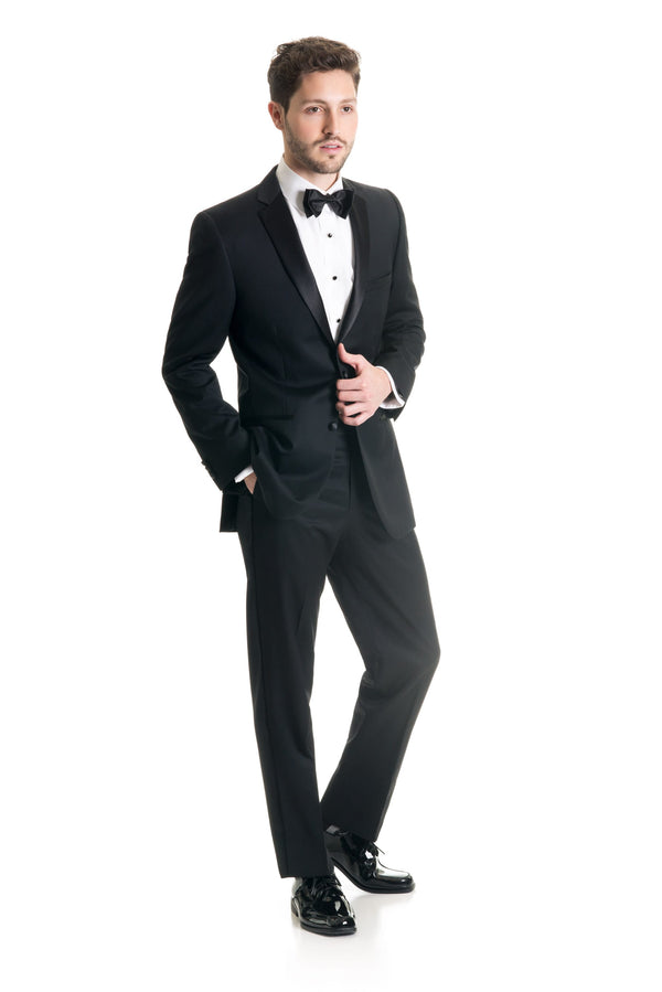 Black Slim Fit Tuxedo Coat - Super 120's - Full Tux Three Quarter