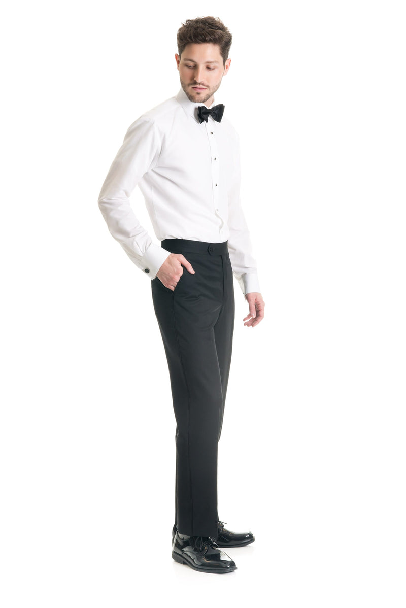 Black Slim Fit Tuxedo Pants - Super 120's - Three Quarter