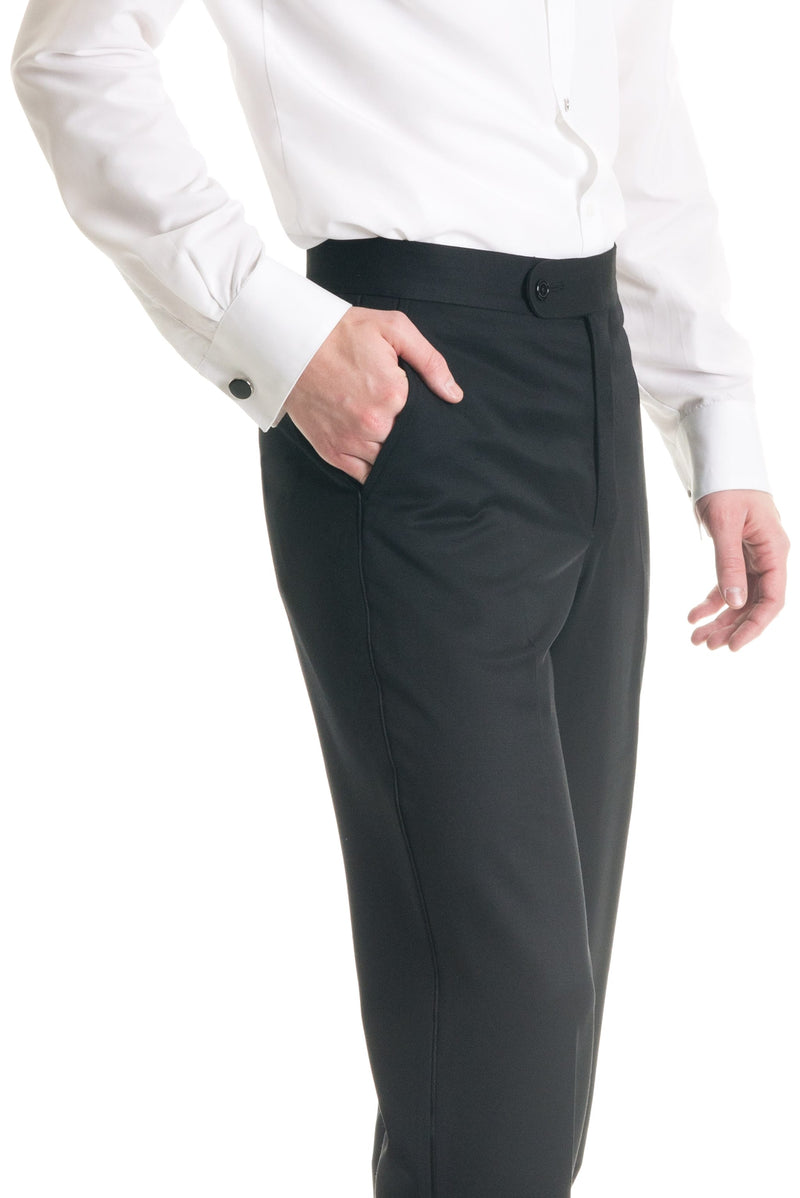 Black Slim Fit Tuxedo Pants - Super 120's - Detailed Close-Up