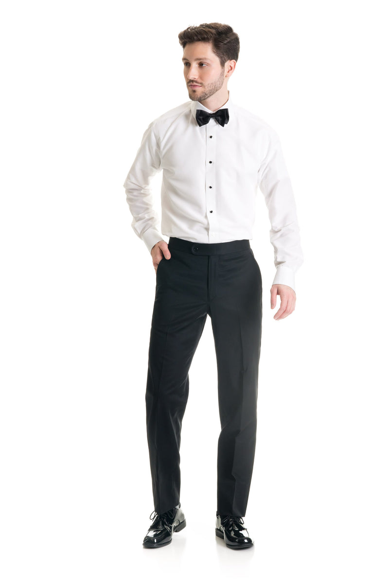 Black Slim Fit Tuxedo Pants - Super 120's - Front