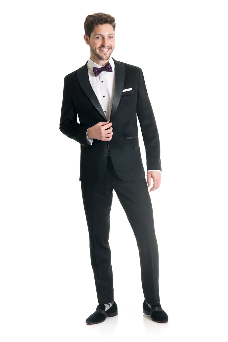 Black Velvet Ultra Slim Fit Tuxedo Coat