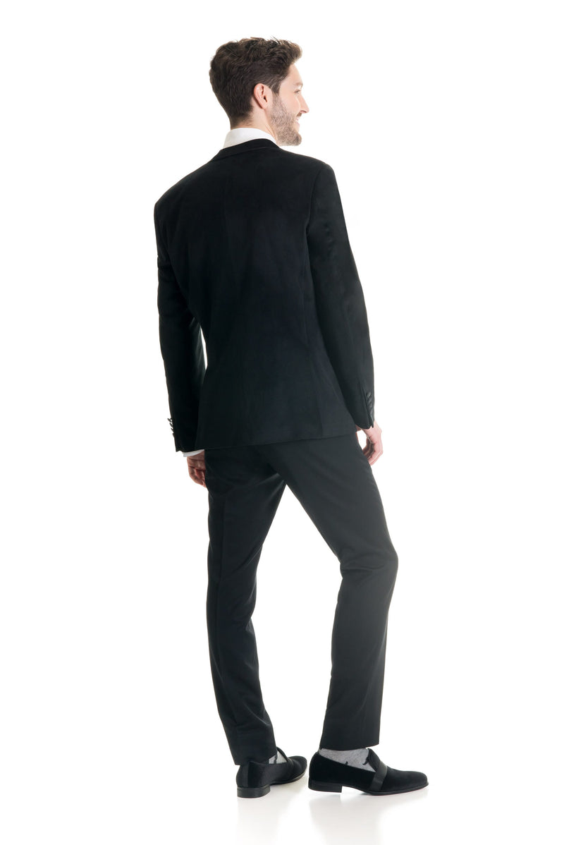 Black Velvet Ultra Slim Fit Tuxedo Coat Back