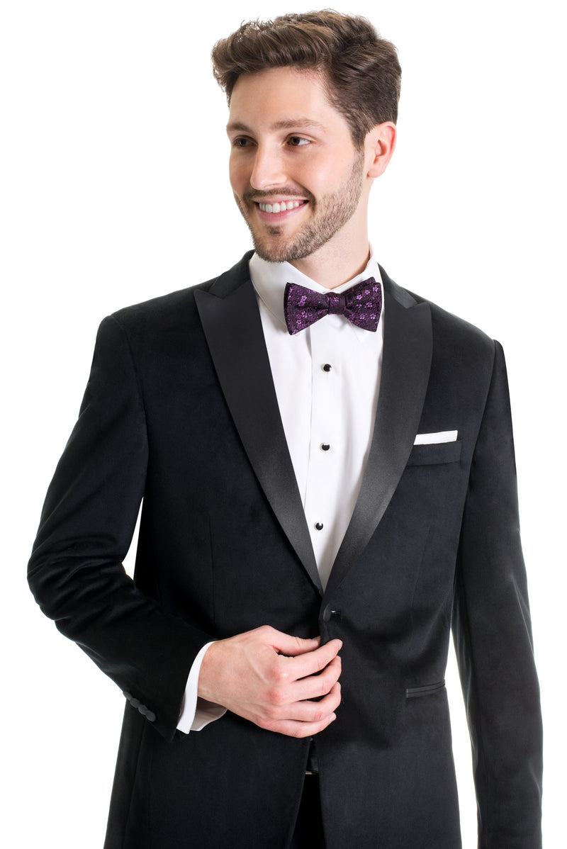 Black Velvet Ultra Slim Fit Tuxedo Coat Close Up