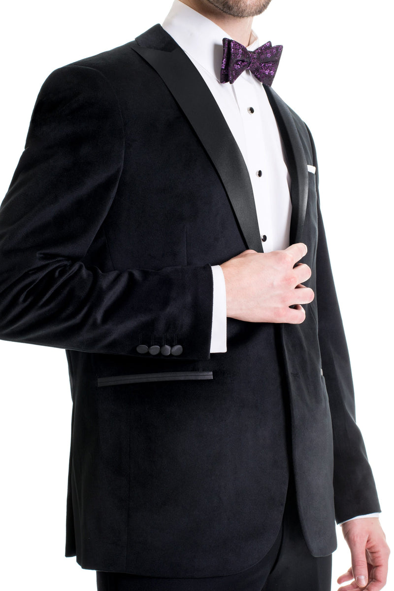Black Velvet Ultra Slim Fit Tuxedo Coat Slim