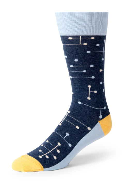 Blue Line Dot Men's Dress Socks
