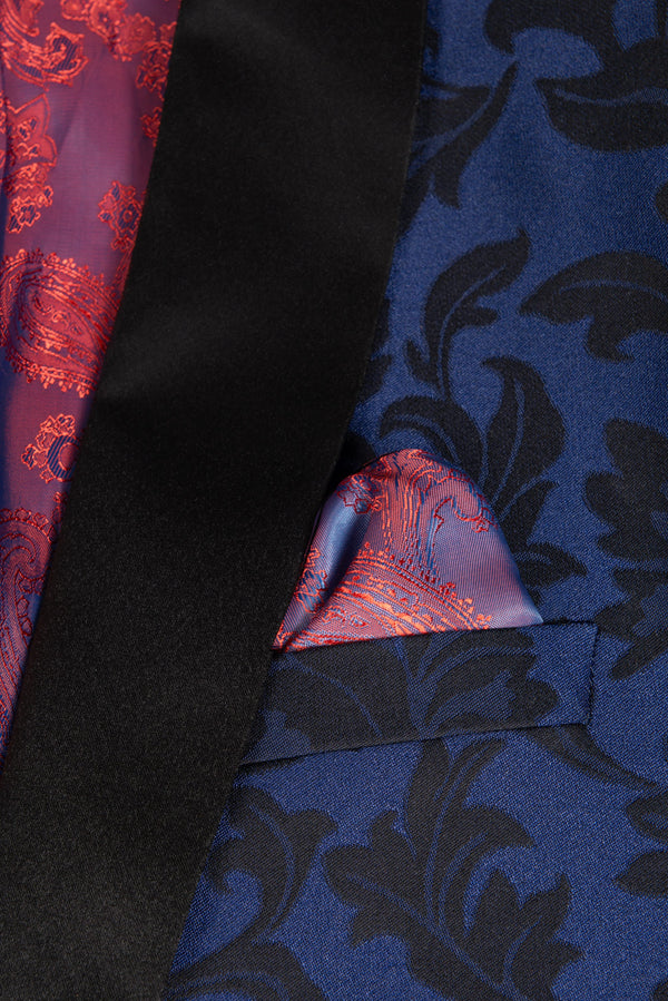 Cobalt Blue Floral Ultra Slim Fit Tuxedo Coat Pocket