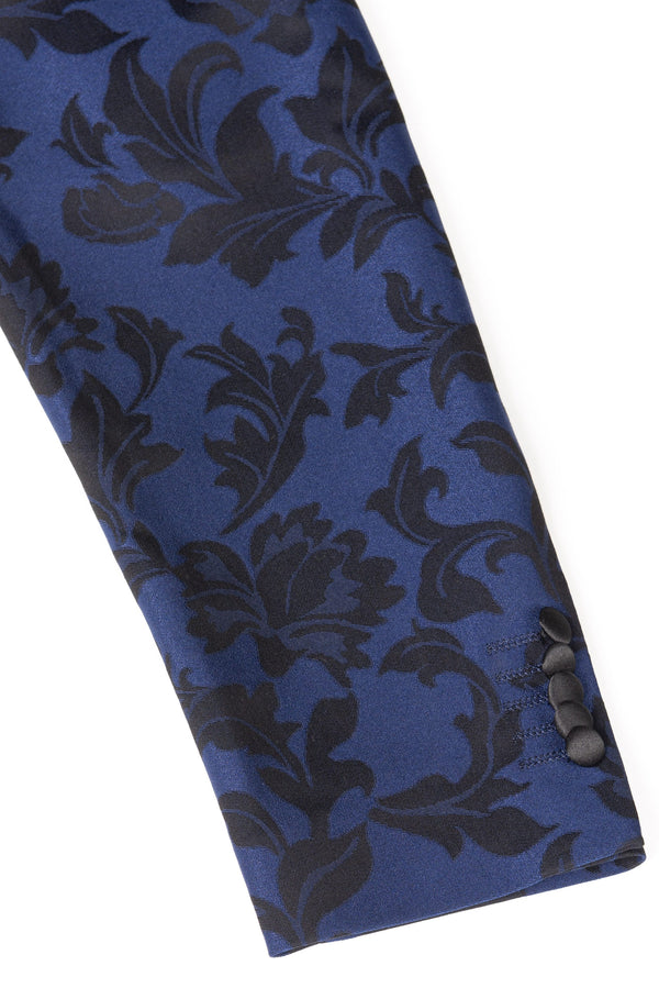 Cobalt Blue Floral Ultra Slim Fit Tuxedo Coat Sleeve