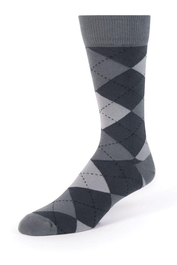Dark Grey Argyle Men's Dress Socks