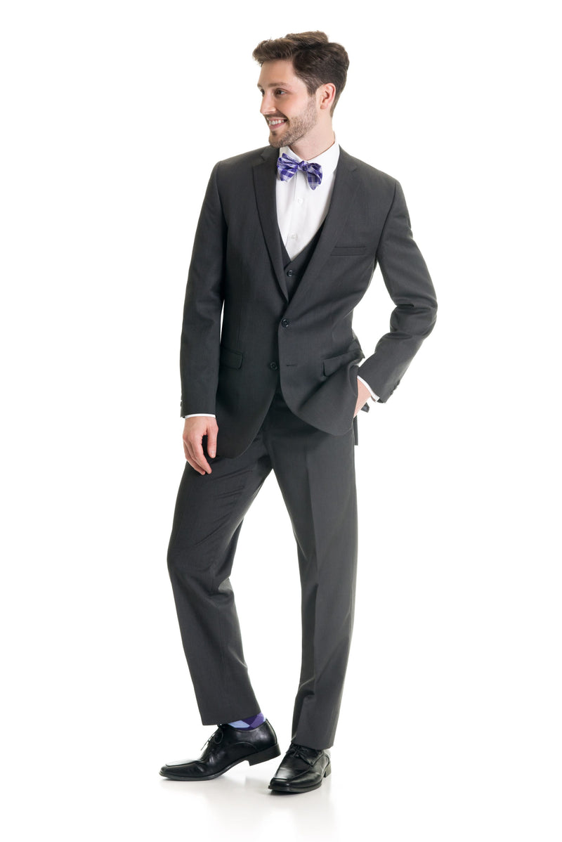 Dark Grey Slim Fit Suit Coat - Full Suit Front Three Quarter