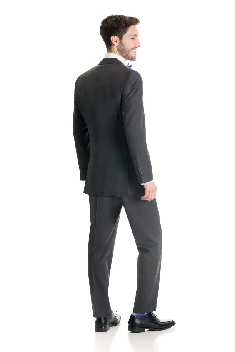 Dark Grey Slim Fit Suit Coat - Full Suit Back