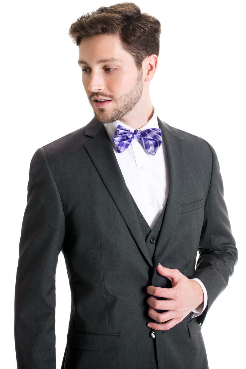 Dark Grey Slim Fit Suit Coat - With Bow Tie