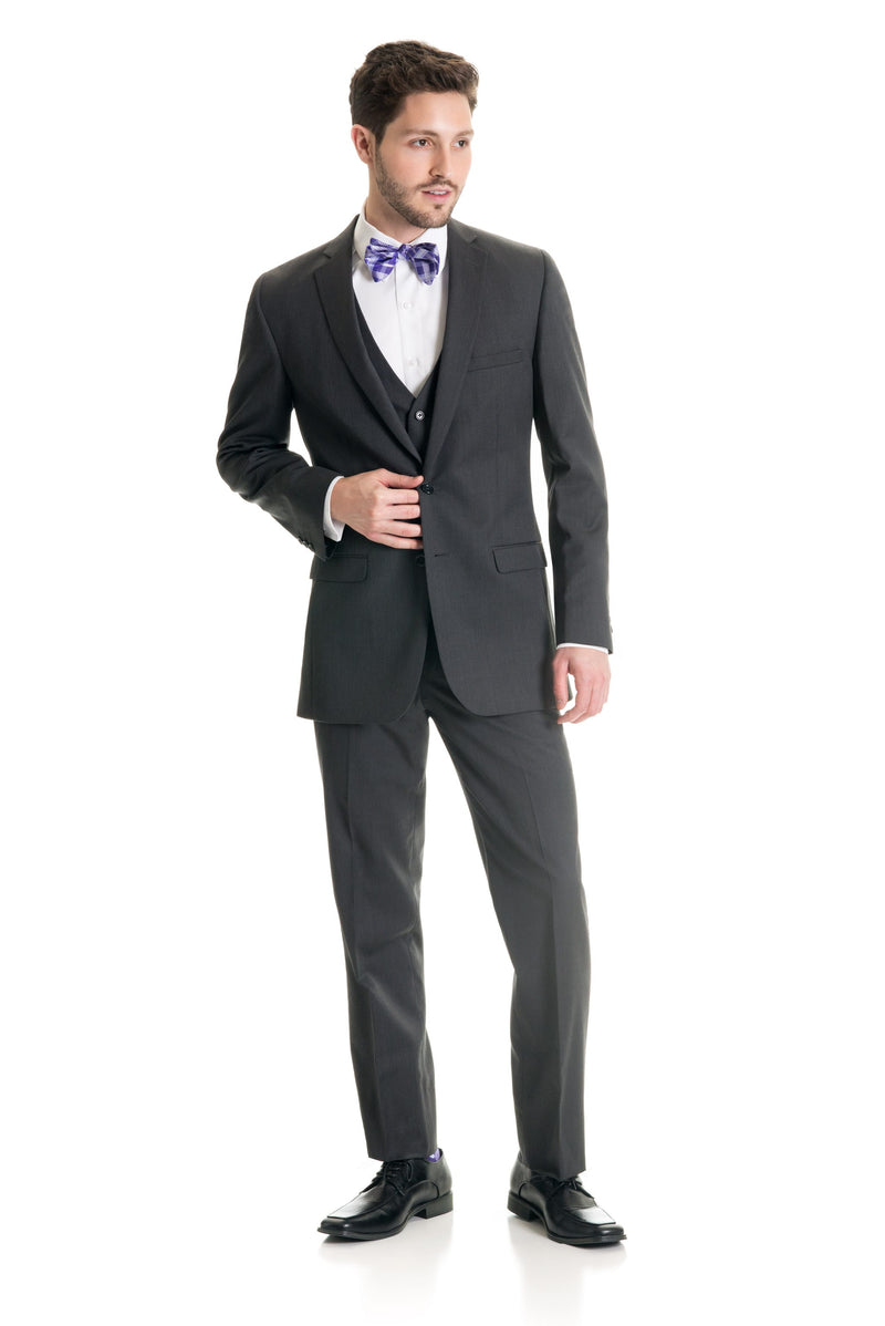 Dark Grey Slim Fit Suit Coat - Full Suit Front