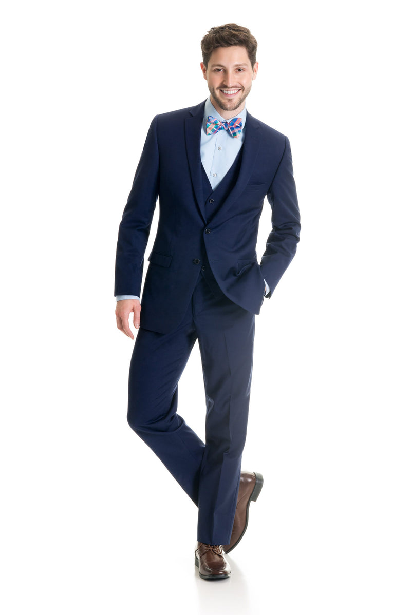 Dark Indigo Slim Fit Suit Coat - Super 120's - Full Suit Front Three Quarter