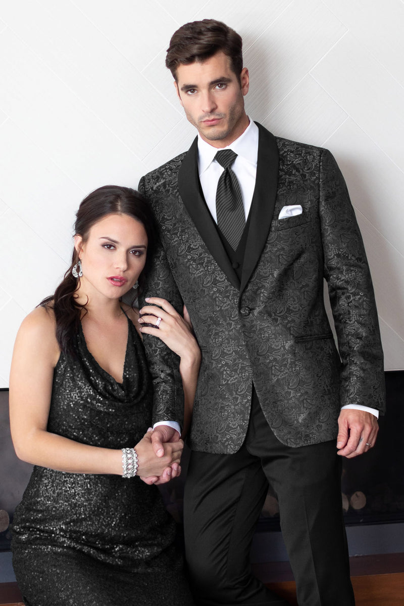 Granite Paisley Slim Fit Tuxedo Coat - Couple