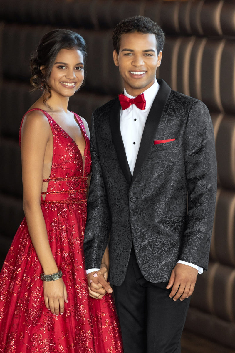 Granite Paisley Slim Fit Tuxedo Coat - Couple with red accessories