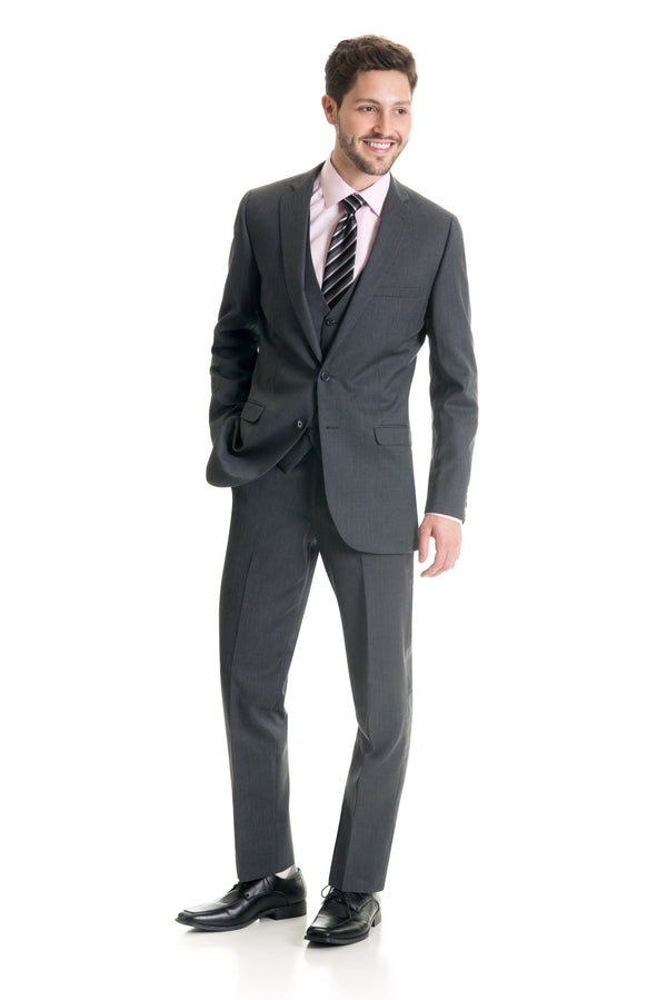 Grey Slim Fit Suit Coat - Super 120's - Full Suit Front Three Quarter