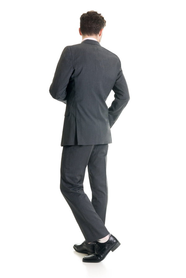 Grey Slim Fit Suit Coat - Super 120's - Full Suit Back