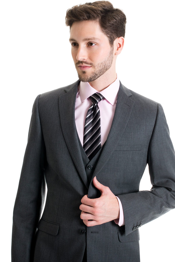 Grey Slim Fit Suit Coat - Super 120's - With Necktie