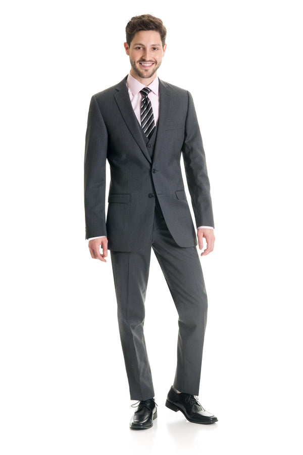 Grey Slim Fit Suit Coat - Super 120's - Full Suit Front