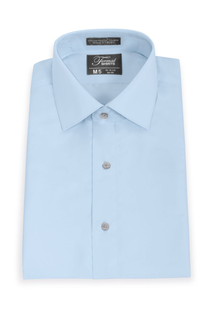 Light Blue Boys Microfiber Dress Shirt