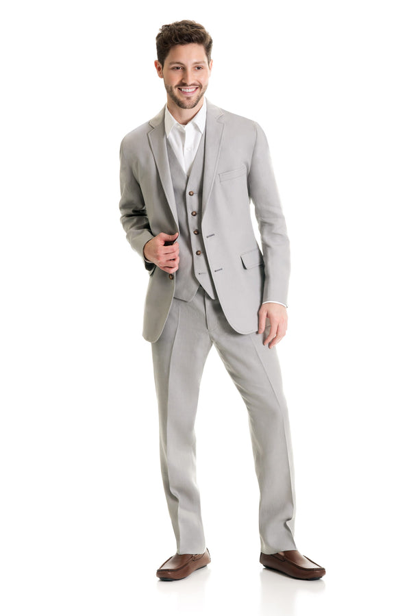 Light Grey Destination Linen Suit Coat - Full Suit Three Quarter